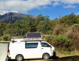 Camp at Gowrie Park with Mount Roland in the background.