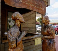 Wood sculptures at Geeveston