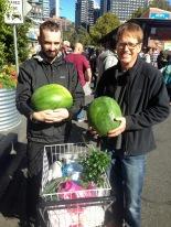 Luke & Brendyn scored free watermelons!